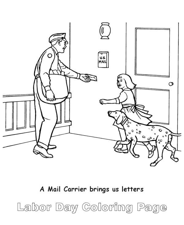 Labor Day, : A Mail Carrier in Labor Day Coloring Page