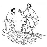 Palm Sunday, A Man Laid Down His Cloak For Jesus In Palm Sunday Coloring Page: A Man Laid Down His Cloak for Jesus in Palm Sunday Coloring Page