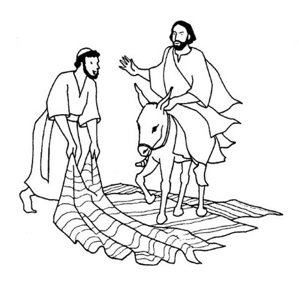 Palm Sunday, : A Man Laid Down His Cloak for Jesus in Palm Sunday Coloring Page