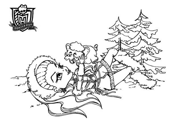 Monster High, : Abbey Bominable Laying on Snow in Monster High Coloring Page