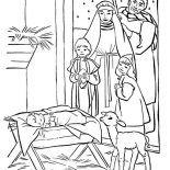 Nativity, Adorations Of The Shepherds In Nativity Coloring Page: Adorations of the Shepherds in Nativity Coloring Page