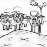 Shaun the Sheep, All The Flock Looked At Shaun The Sheep Coloring Page: All the Flock Looked at Shaun the Sheep Coloring Page