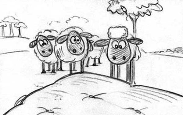Shaun the Sheep, : All the Flock Looked at Shaun the Sheep Coloring Page