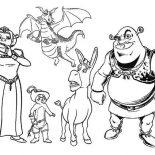Shrek, All The Shrek Movie Characters Coloring Page: All the Shrek Movie Characters Coloring Page