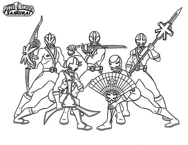 Power Rangers, : Amazing Power Rangers Samurai Coloring Page