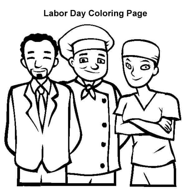 Labor Day, : American Workers in Labor Day Coloring Page