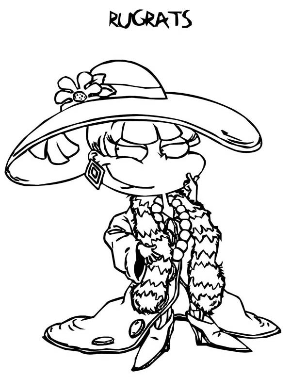 Rugrats, : Angelica Fancy Dressing in Rugrats Coloring Page