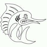 Swordfish, Angry Swordfish Coloring Page: Angry Swordfish Coloring Page