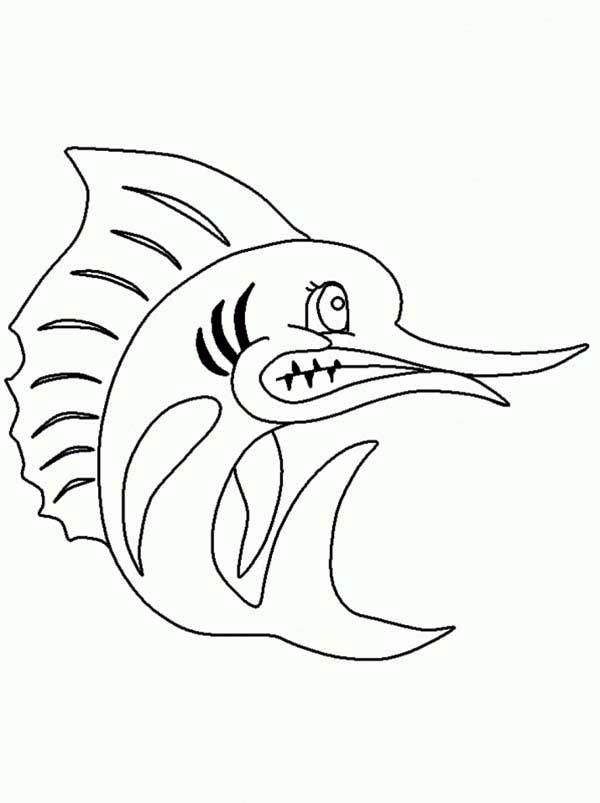 Swordfish, : Angry Swordfish Coloring Page