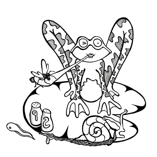 Lily Pad, : Animals Sitting on Lily Pad Coloring Page