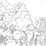 Nature, Aquarium Life Of Nature Coloring Page: Aquarium Life of Nature Coloring Page