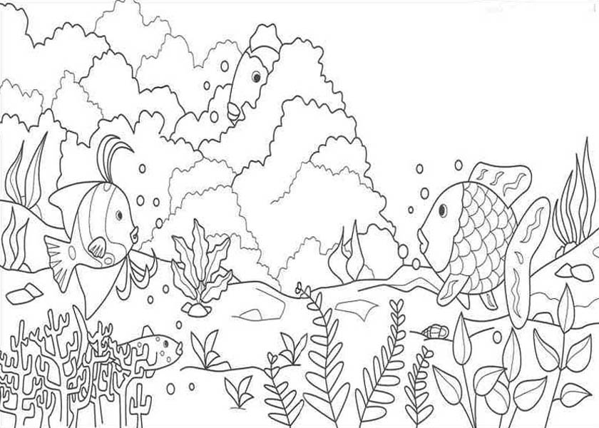 Nature, : Aquarium Life of Nature Coloring Page