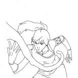 The Legend of Korra, Avatar Korra Awesome Water Bending Coloring Page: Avatar Korra Awesome Water Bending Coloring Page