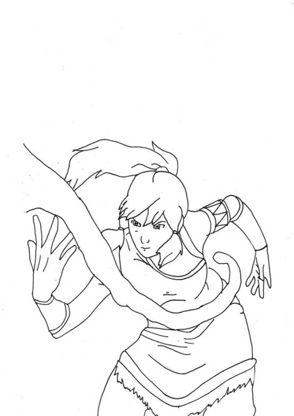 The Legend of Korra, : Avatar Korra Awesome Water Bending Coloring Page