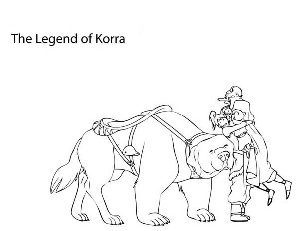 The Legend of Korra, : Avatar Korra Hug Tenzin Coloring Page