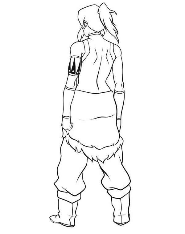 The Legend of Korra, : Avatar Korra Looks from Behind Coloring Page