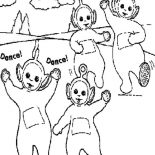 Teletubbies, Awesome Dance Of The Teletubbies Coloring Page: Awesome Dance of the Teletubbies Coloring Page