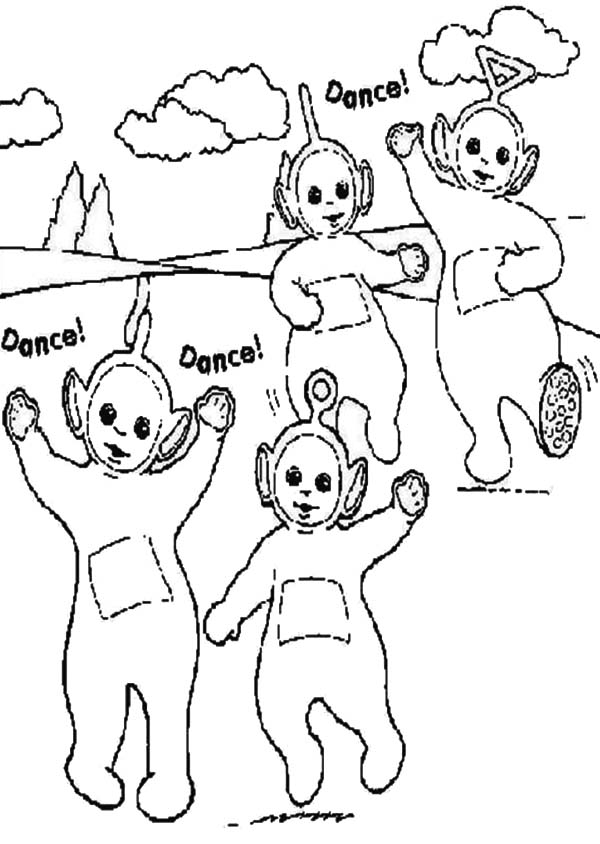 Teletubbies, : Awesome Dance of the Teletubbies Coloring Page