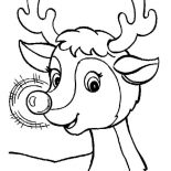 Rudolph, Awesome Red Nose Of Rudolph The Reindeer Coloring Page: Awesome Red Nose of Rudolph the Reindeer Coloring Page