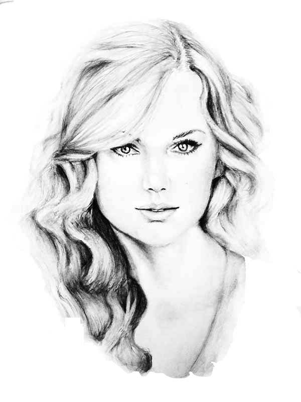 Taylor Swift, : Awesome Sketch of Taylor Swift Coloring Page