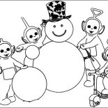 Teletubbies, Awesome Snowman Made By The Teletubbies Coloring Page: Awesome Snowman Made by the Teletubbies Coloring Page