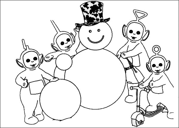 Teletubbies, : Awesome Snowman Made by the Teletubbies Coloring Page
