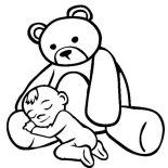 Teddy Bear, Baby Asleep In The Lap Of Teddy Bear Coloring Page: Baby Asleep in the Lap of Teddy Bear Coloring Page