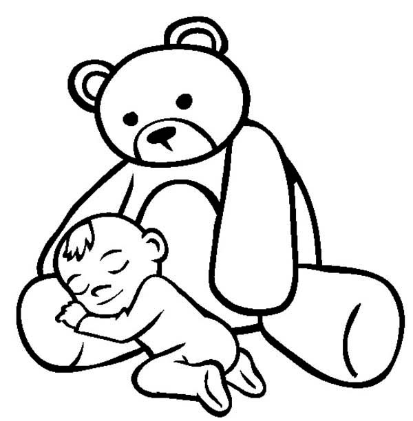 Teddy Bear, : Baby Asleep in the Lap of Teddy Bear Coloring Page