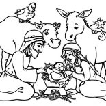 Nativity, Baby Jesus In A Manger In Nativity Coloring Page: Baby Jesus in a Manger in Nativity Coloring Page
