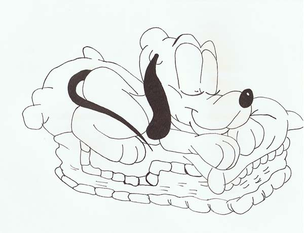 Pluto, : Baby Pluto Sleeping Peacefully Coloring Page