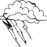 Lightning Bolt, Bad Weather With Lighting Bolt Coloring Page: Bad Weather with Lighting Bolt Coloring Page