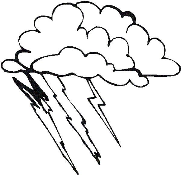 Lightning Bolt, : Bad Weather with Lighting Bolt Coloring Page