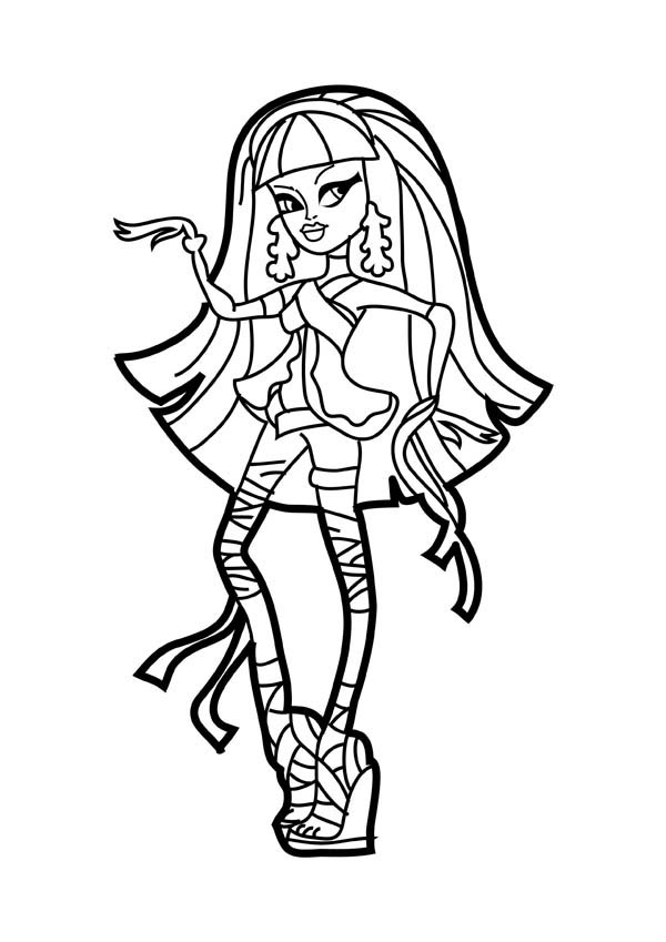 Monster High, : Beautiful Cleo de Nile in Monster High Coloring Page