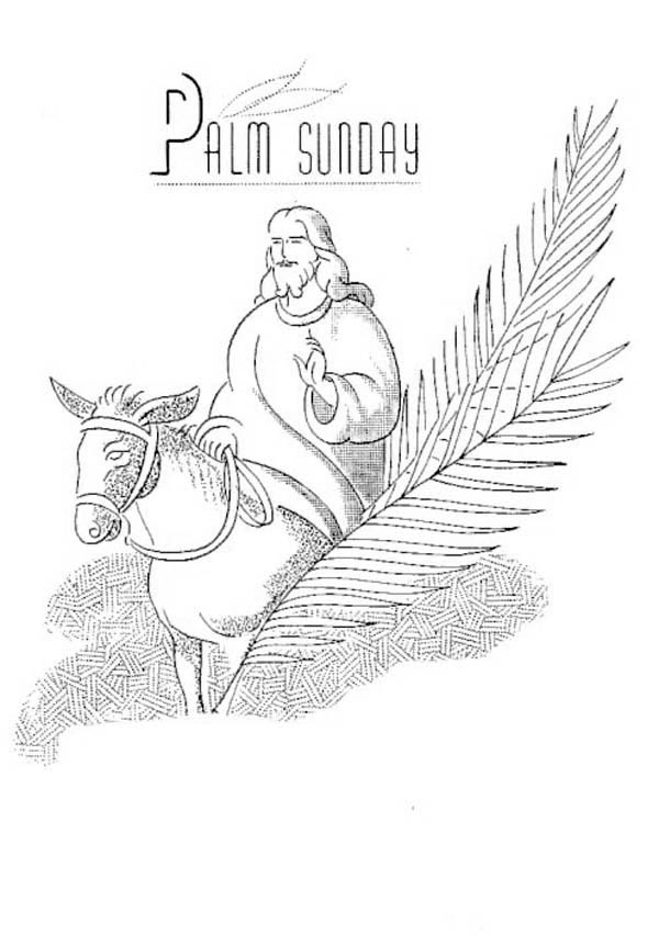 Beautiful Drawing Of Jesus For Palm Sunday Coloring Page