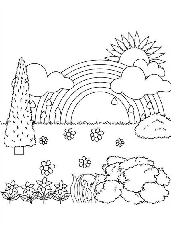 Nature, : Beautiful Landscape View of Nature Coloring Page