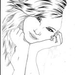 Taylor Swift, Beautiful Picture Of Taylor Swift Coloring Page: Beautiful Picture of Taylor Swift Coloring Page