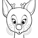 Rudolph, Beautiful Red Nose Of Rudolph The Reindeer Coloring Page: Beautiful Red Nose of Rudolph the Reindeer Coloring Page