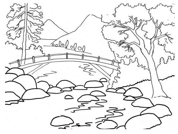 Nature, : Beautiful River Bank Landscape of Nature Coloring Page