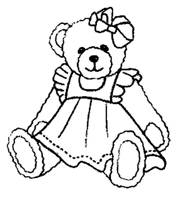 Teddy Bear, : Beautiful Teddy Bear Coloring Page