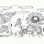 Nature, Beautiful View Of Nature Coloring Page: Beautiful View of Nature Coloring Page