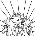 Nativity, Bible Story Of The Born Of Jesus In Nativity Coloring Page: Bible Story of the Born of Jesus in Nativity Coloring Page