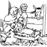Nativity, Born Of Jesus Of Nazareth In Nativity Coloring Page: Born of Jesus of Nazareth in Nativity Coloring Page