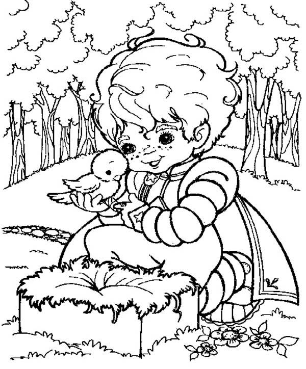 Rainbow Brite, : Buddy Blue Caring a Bird in Rainbow Brite Coloring Page