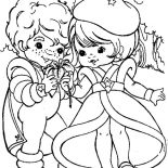Rainbow Brite, Buddy Blue Give Lala Orange A Beautiful Flower In Rainbow Brite Coloring Page: Buddy Blue Give Lala Orange a Beautiful Flower in Rainbow Brite Coloring Page