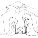 Nativity, Cartoon Of Jesus Crist Nativity Coloring Page: Cartoon of Jesus Crist Nativity Coloring Page