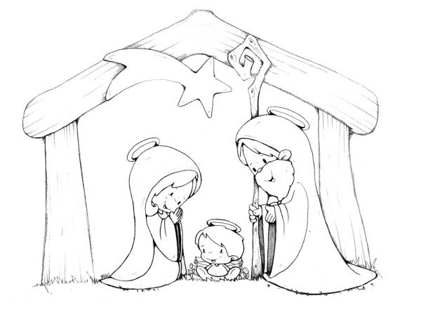 Nativity, : Cartoon of Jesus Crist Nativity Coloring Page
