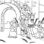 Palm Sunday, Cartoon Of Jesus Entrance In Palm Sunday Coloring Page: Cartoon of Jesus Entrance in Palm Sunday Coloring Page