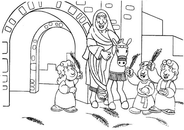 Palm Sunday, : Cartoon of Jesus Entrance in Palm Sunday Coloring Page