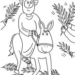 Palm Sunday, Cartoon Of Jesus Rode A Donkey In Palm Sunday Coloring Page: Cartoon of Jesus Rode a Donkey in Palm Sunday Coloring Page