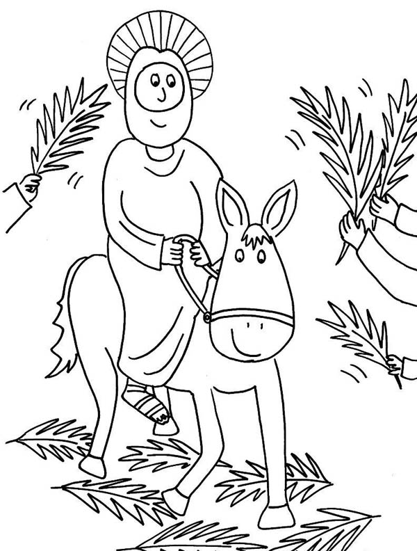 Palm Sunday, : Cartoon of Jesus Rode a Donkey in Palm Sunday Coloring Page